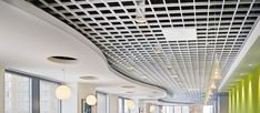 ​MetalWorks Open Cell commercial tiles from Armstrong Ceiling Solutions. Decorative, durable, accessible to mask exposed structure. Interior Ceiling Design, False Ceiling Design, Office Interior Design, Office Interiors, Office Ceiling, Ceiling Grid, Open Ceiling, Decoration Faux Plafond, Exposed Ceilings
