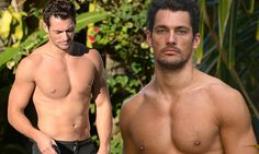 So that's how he relaxes after a photo shoot! David Gandy displays his tanned and toned physique as he goes topless by the pool