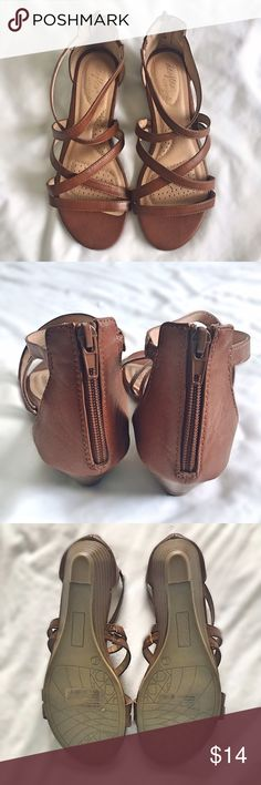 "Dexflex Low Wedge Sandals NWOT Brown dexFlex comfort sandals with a 1"" wedge and back-of-ankle zip, in size 6 wide. Lovely brown tone makes these a great basic! Never worn aside from a try-on. Currently out of stock online. Size 6W. dexFlex Shoes Sandals"