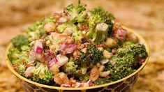 Keto Broccoli Salad RecipeIngredients: 24 Ounce Raw Broccoli Florets 1 Cup Bacon (Chopped) Large Red Onion (Chopped) 1 Cup Chosen Foods Avocado Mayo (or similar) 1 Cup Macadamia Nuts Cup Lakanto Monkfruit Sweetener 1 TBSP Bragg Organic Apple Cider Vinegar
