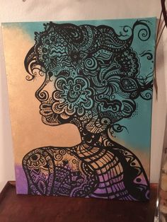 My very own zentangle free hand painting. I didn't not draw a single line!  My inspiration came from an image I fell in love with online. I do not know the name of the artist unfortunately, but their drawing was so beautiful. I love painting, so for Mother's Day I decided to paint my own version of their incredible drawing. I love the relaxation and freedom of painting on canvas, truly nothing like it.