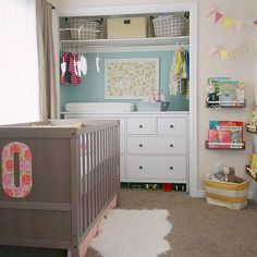 Great use of space in a shared nursery/toddler room. Put changing table in close… Great use of space in a shared nursery/toddler room. Kid Closet, Room Closet, Closet Doors, Closet Dresser, Corner Closet, Closet Ideas, Entryway Closet, Shared Closet, Ikea Dresser