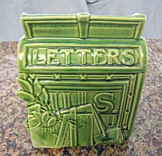 Vintage McCoy Pottery mailbox wall pocket for sale at More Than McCoy at http://www.morethanmccoy.com