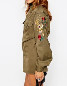 Image 3 ofMilk It Vintage Festival Military Shirt With Tiger Patch Arm Detail