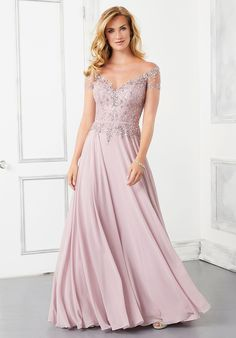 An a-line formal dress in the Spring 2021 MGNY collection from Morilee. Bride Groom Dress, Bride Gowns, Beaded Chiffon, Chiffon Skirt, Beaded Lace, Long Sleeve Evening Gowns, Evening Dresses, Mother Of The Bride Gown, Mothers Dresses