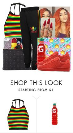 """""""Jamaican instagram baddie"""" by babygirlkikig ❤ liked on Polyvore featuring Topshop, adidas Originals and FRUIT"""