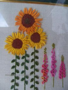 Embroidery-- these flowers remind me of my mom