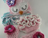 Sleepy Owl Hat Ruffle Diaper Cover Leg Warmers Newborn/Infant Girl Photography Prop Halloween Costume Shower Gift