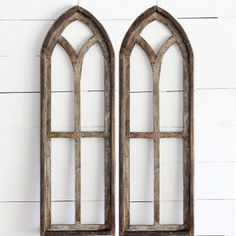 Tall Arched Wooden Window Frame, Set of 2 Farmhouse Wall Decor, Vintage Style Wooden Window Frames, Wooden Arch, Wooden Windows, Window Frame Decor, Door Frames, Window Ideas, Cathedral Windows, Church Windows, Arched Windows