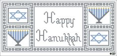 Free Hanukkah-Themed Counted Cross Stitch Patterns: Bordered Happy Hanukah Saying
