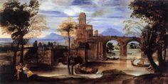 Annibale Carracci c. 1595-1600 Roman River Landscape with Castle and Bridge