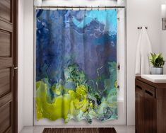 Abstract Art Shower Curtain Contemporary Bathroom Decor, Southwest Shower Curtain in Rust and Turquoise, Bathroom Art, Canyon Sunset Bathroom Shelf Decor, Bathroom Art, Mermaid Bathroom, Washroom, Contemporary Shower, Contemporary Abstract Art, Green Shower Curtains, Blackout Drapes, White Shower