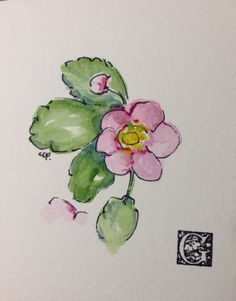 Wild Strawberry Bloom Watercolor Card by gardenblooms on Etsy https://www.etsy.com/listing/220292117/wild-strawberry-bloom-watercolor-card