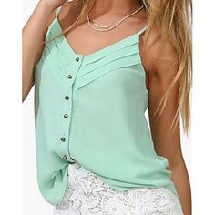Women's+Solid+Blue/Red/White/Green/Orange+Vest+,+Strap+Sleeveless+Pleated+–+CAD+$+18.06