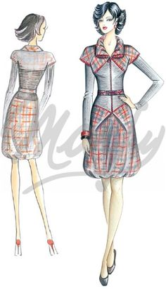 Model 2592 | Sewing Pattern Dress has double sleeves - short raglan and long tapered. Double collar with opening. Skirt has low waistline with 2 soft pleats. Hemline with or without drawstring to create a bubble effect. Fabrics - wool plaid and knit with overstitching in wool yarn