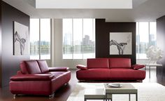 Red Sofa in Modern Living Room #Design