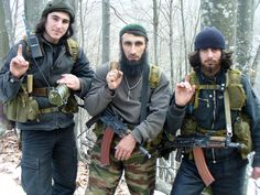 Rebel fighters in Chechnya.