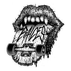 "Roughly translates to ""I don't ride a skateboard,"" the personal motto of Argentinean graphic designer Julio Cesar Battistelli Skateboard Logo, Skateboard Design, Skate Tattoo, Rolling Stones Logo, Skate Art, Dream Tattoos, Flash Art, Skateboards, Graffiti Art"