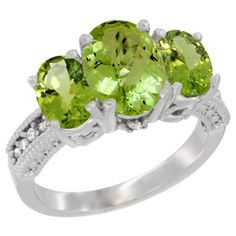 14K White Gold Natural Peridot Ring Ladies 3-Stone 8x6 Oval Diamond Accent, sizes 5 - 10 - http://fashion.designerjewelrygalleria.com/rings/gemstone-rings/14k-white-gold-natural-peridot-ring-ladies-3-stone-8x6-oval-diamond-accent-sizes-5-10/