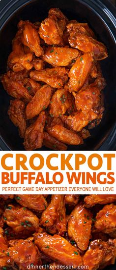 Slow Cooker Buffalo Wings are the perfect appetizer for game days, potlucks or the holidays, your guests will love how easy this recipe is with just 4 ingredients. wings crockpot Slow Cooker Buffalo Wings Recipe (Crock Pot) - Dinner, then Dessert Crock Pot Recipes, Recetas Crock Pot, Crockpot Dishes, Alow Cooker Recipes, Potluck Slow Cooker Recipes, Easy Crock Pot Meals, Easy Healthy Crockpot Recipes, Slow Cooker Dinners, Hamburger Crockpot Recipes