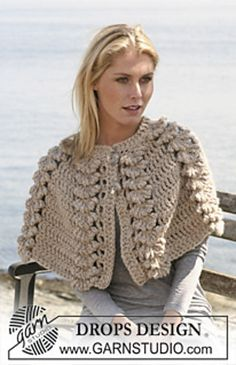 "Ravelry: 110-9 Crochet DROPS cape with shell pattern in ""Eskimo pattern by DROPS design I will try this with 4ply yarn (probably silk+alpaca) for a girl's cape."