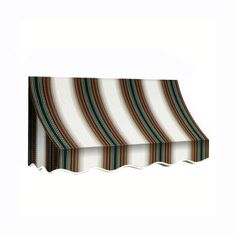 AWNTECH 6 ft. Nantucket Window/Entry Awning (31 in. H x 24 in. D) in Burgundy/Forest/Tan Stripes, Red