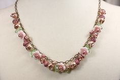 Pink Glass Flower Necklace, Blushing