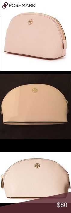 🆕 Tory Burch Robinson small make-up bag 💯% authentic Tory Burch Robinson small make-up bag. Pale Apricot leather Gold logo medallion logo-jacquard lining interior slip pouch NWT never been used Tory Burch Bags Cosmetic Bags & Cases