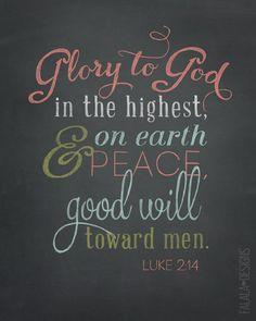Luke 2:14 Chalkboard Printable                                                                                                                                                      More