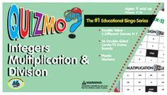 Quizmo Integers games (addition/subtraction AND multiplication/division)
