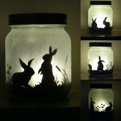 Bunny rabbit silhouette jar light, (lit with a flickering LED light). Mason jar, glitter jar Bunny rabbit silhouette jar light lit by craftylittlefoxshops Bunny Crafts, Easter Crafts, Rabbit Crafts, Snowman Crafts, Easter Decor, Easter Ideas, Easter Gift, Easter Bunny, Easter Party