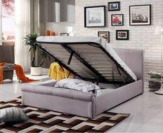 Caramel Silver Grey Fabric Ottoman Sliegh Bed   Storage Beds (by Bedz4u.co.uk)