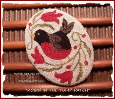 Robin in The Tulip Patch Punch Needle Download by Diane Knott LLC by DianeKnottLLC on Etsy