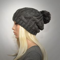 Slouchy cable style beanie hat. Dark grey knit pompom by KnitLea