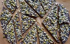 Make this quick and easy dark chocolate bark at home. This recipe has nutritious, crunchy sunflower seeds, pepitas, black sesame seeds and hemp seeds...