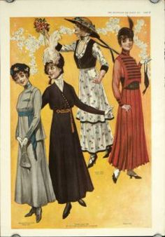 03 - 1915. 2 color prints from the March 1915 issue of The Delineator Magazine, sheet size approximately 16 x 11 inches. Very good condition. Two sheets, each with four women in fancy suits and hats. Item #46682