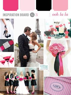 Pinks, black and a bit of Paris are combined for a feminine and sophisticated wedding palette.