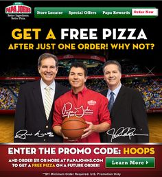 Followup pizza free at Papa Johns via promo code HOOPS coupon via The Coupons App