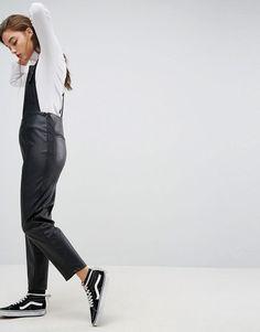 Kuvahaun tulos haulle leather look dungarees asos Dungarees, Asos, Normcore, Women's Fashion, Leather, Style, Swag, Fashion Women
