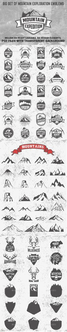 Set of Mountains Emblems and Design Elements - PSD, Vector EPS, AI Illustrator