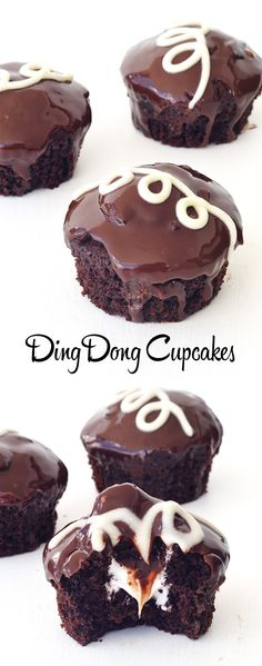 Easy copycat Ding Dong Cupcakes with a sticky marshmallow filling - Sweetest Menu
