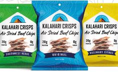Kalahari Snacks launches biltong crisps in US - FoodBev Media Crispy Beef, Biltong, Whole 30 Diet, Food Packaging Design, 100 Calories, Chips, Product Launch, Tasty, Snacks