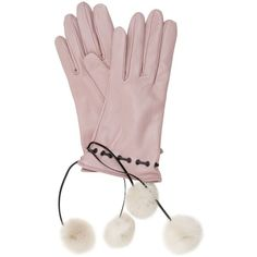 Mario Portolano Women Leather Gloves W/fur Pompoms ($220) ❤ liked on Polyvore featuring accessories, gloves, pink, fur gloves, leather gloves, pom pom gloves, pink gloves and pink leather gloves