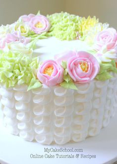 Beautiful Buttercream Floral Wreath & Piped Technique by MyCakeSchool.com! Online Cake Decorating Tutorials & Recipes!