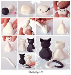 Wonderful Clay Art Ideas Cat wedding topper fondant tutorial It might be fondant but I'm sure you can make it with polymer clay too =D Polymer Clay Animals, Fimo Clay, Polymer Clay Projects, Polymer Clay Creations, Polymer Clay Ornaments, Cat Fondant, Fondant Animals, Fondant Bow, Fondant Flowers
