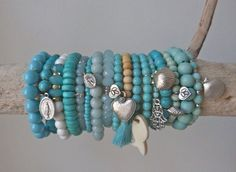 sea treasures  white shell beads  turquoise by beachcomberhome