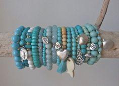sea treasures  white shell beads  turquoise by beachcomberhome