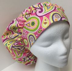 Pink Paisley Print Size Large Medical Bouffant OR Scrub Cap Surgery Hat #Handmade