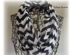 Black Chevron Scarf  Black And White Infinity by UrbanScarfs