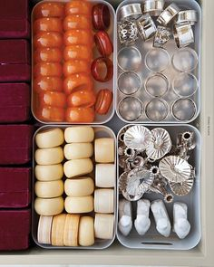 Napkin Rings and Chopstick Rests  Grouped in plastic bins, Martha's Bakelite, porcelain, silver, and ivory accessories are collected in one drawer, so they're easy to find when it's time to set the table.